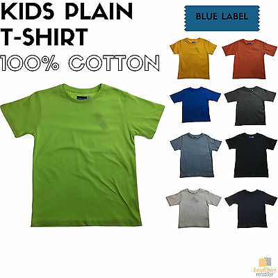 KIDS PLAIN T SHIRT Children's Child 100% COTTON Boys Girls Basic Blank Tee Top
