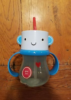 SIPPY CUP With Straw Blue ROBOT Red  Heart Rotating Handle NEW