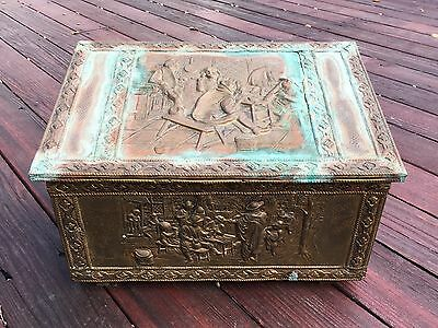 Antique Vintage Ppj Brass/copper/wood Embossed Coal Scuttle Box England