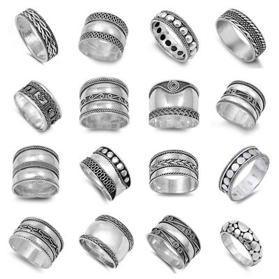 """New Fashion """"bali"""" Designs Sterling Silver Rings Sizes 5-13"""
