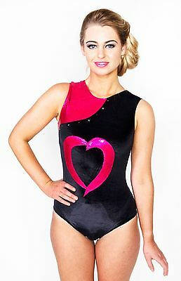 girl's gymnastics leotard, heart leotard, sizes 26 and 34