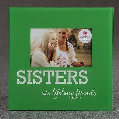 Glass SISTERS frame - 6 x 4 - green and White - Gift Favors / FC-12234
