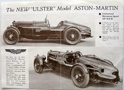 ASTON MARTIN Ulster Model Original Cars Sales Sheet 1935