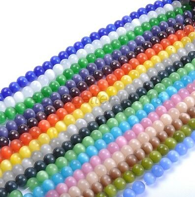 4MM-12MM - Choose 16Color-1 Or Mixed Cat Eye Gemstone Round Loose Beads