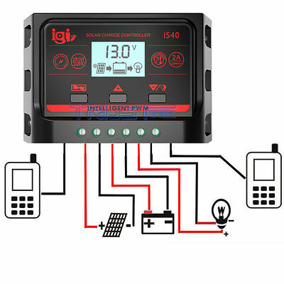 10/20/30A LCD Dual USB Solar Panel Battery Regulator Charge Controller PWM NEW
