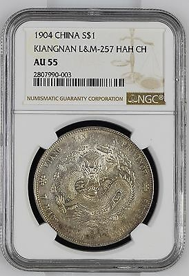 1904 CHINA KIANGNAN DOLLAR L&M 257 HAH CH SILVER COIN GRADED AU55 by NGC