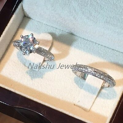 2Ct Off White Moissanite Engagement Wedding Band Set Ring 925 Sterling Silver