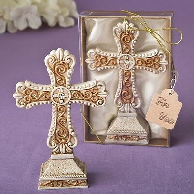 Antique ivory Cross statue with a matte gold filigree detailing from PartyFairyB