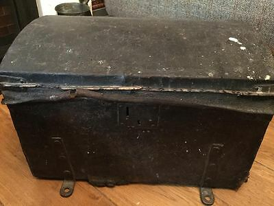 Early 18th Century leather carriage chest coach trunk vintage storage