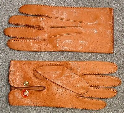 Vintage Press Stud Pigskin Leather Driving Gloves