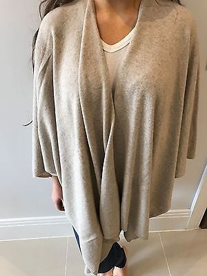 Ladies Set Poncho Shawl Wool Cashmere blend in Grey and Beige