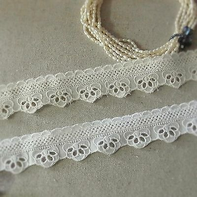 "Broderie Anglaise Cotton Eyelet Lace Trim 1.2""(3cm) White Cream 5yds"