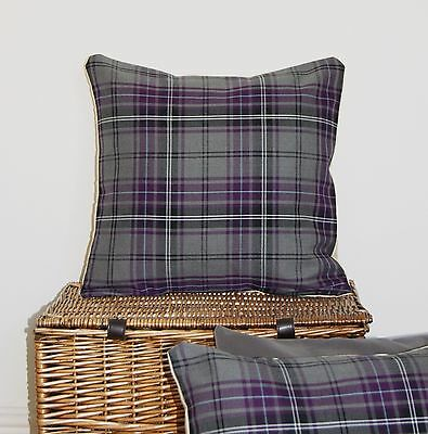 Purple Berry Grey Tartan Cushion Cover 16 Inch Thistle Heather Scottish Highland