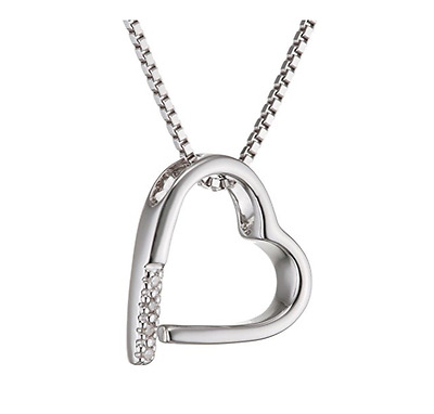 "Hot Diamonds Memories Silver and Diamond Pendant / 16""-18"" Sterling Silver Chain"