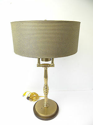 Modern Brass Metal Wood Base Frederick Cooper Electric Table Lamp Light Working