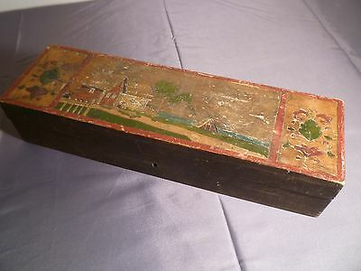 Vintage Old Dark Wood Pencil Box With Picture On Top - Wooden School Childs Pen