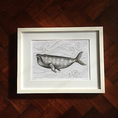 Whale & Waves A4 Art Print, Signed Ltd Edition, Illustration Picture Drawing