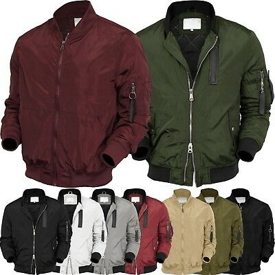 VW Mens BOMBER Jacket  MA-1 Windbreaker Active Fashion Slim Biker Padded Light