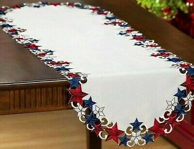 "Patriotic Starburst Stars Table Runner Topper Americana 4th of July 55""x 17"""