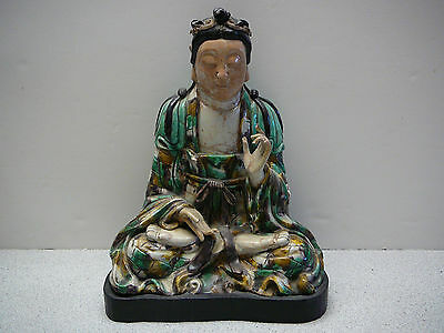 "Extremely rare Ming Su sancai Famille verte porcelain Kwan-yin Buddha stand 12""H"