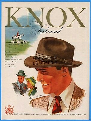 1947 Knox Hatter Fifth Ave New York City Fedora Men's Womens Hat Fashion Ad
