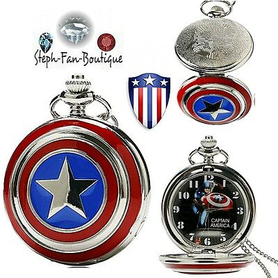 Montre pendentif à gousset collection super héros Captain America ( RARE )