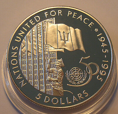 Barbados $5 1995 United Nations 50th Anniversary Silver Proof