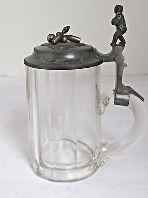 Antique 1898  Bowling Trophy Clear Glass Stein