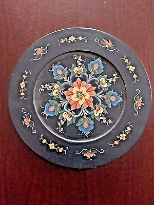 """Decorative 12"""" Floral Wood Plate Scandinavian/Russian Style Hand Painted USA"""