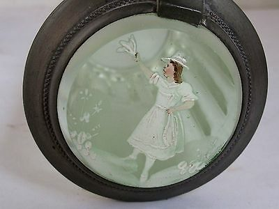 Antique Clear Glass Stein with hand Painted Mary Gregory Lid
