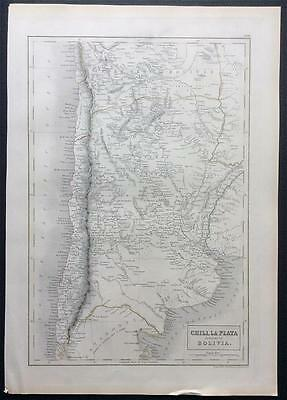 Map CHILI, LA PLATA c1843, Black's General Atlas of World, VGC, engraved, colour