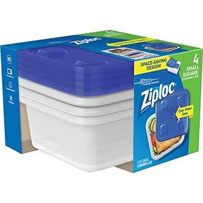 Ziploc 3 Cup Small Square Food Storage Container 4 Count 813