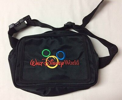 Walt Disney World Mickey Ears Waist Fanny Pack Zippers Pocket Black Bag Travel