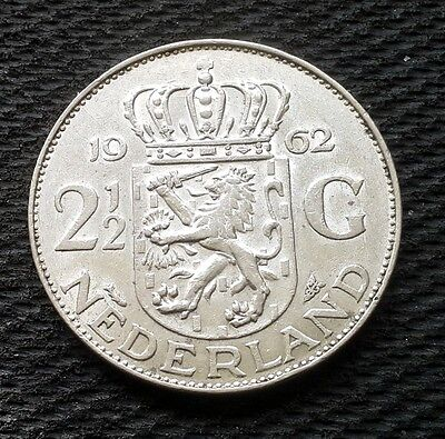 1962 Netherlands 2.5 Gulden Silver Coin