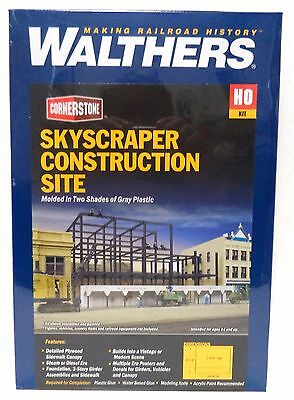 HO Scale Walthers Cornerstone 933-3761 Skyscraper Construction Site Building Kit