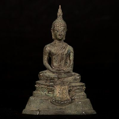 19th Century Antique Sukhothai Thai Meditation Buddha Statue - 17cm/7""