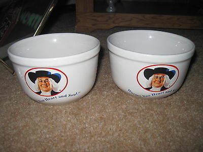 "QUAKER OATS Cereal Bowl X 2 ""Warms Your Heart and Soul"" 1999 Great Condition"