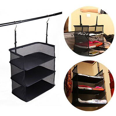 3 Shelf Collapsible Hanging Organizer Closet Clothes Storage Bag Shelves Travel