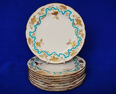 "Set 8 Enamel Gilt Flower Minton Dinner Luncheon Plates for D.B. Bedell 9"" C1910"