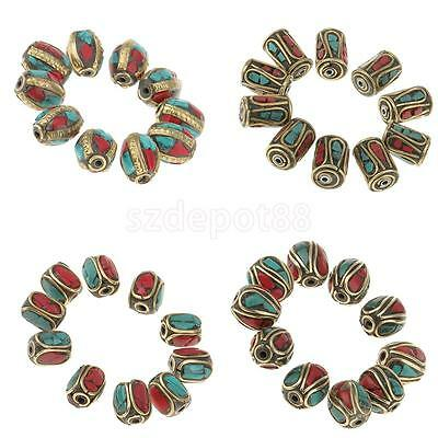 10pcs Antique Copper Handmade Tibetan Beads, Brass with Coral and Turquoise