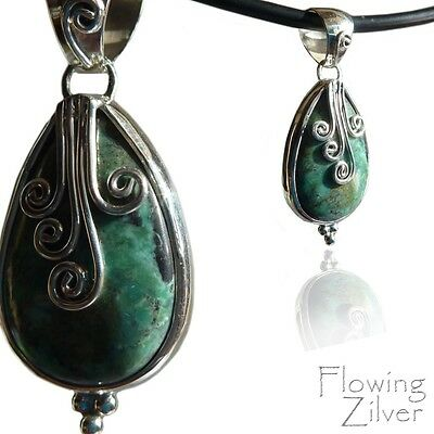 925 Real Sterling Silver Genuine Turquoise Forever Pendant Necklace Bali