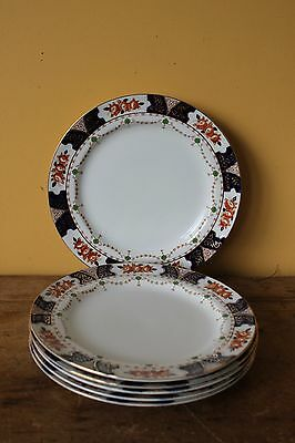 Antique Imari dinner  plates, Wood & Sons, Early 1900's. Set of six.