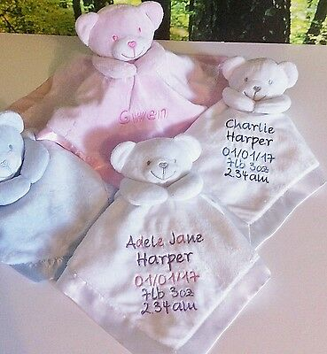 Personalised Teddy Silk Comforters, Embroidered Baby Comforters