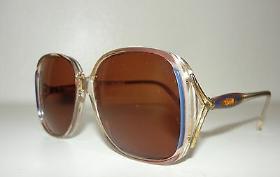 VINTAGE 80s CHLOE*PINK&BLUE GOLD BUTTERFLY OVERSIZED LUNETTES SUNGLASSES 116 362