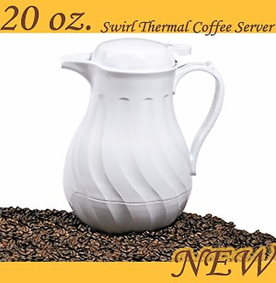 UPDATE INTERNATIONAL SWIRL WHITE THERMAL COFFEE SERVER CARAFE 20 oz PUSH BUTTON