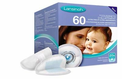 Lansinoh 60 Pads  Disposable Nursing Ultra Thin Super Absorbent Natural Fit New