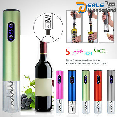 Portable Automatic LED Light Wine Bottle Opener Foil Cutter Electric Opening Kit