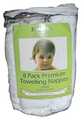 BUBBA BLUE PREMIUM TOWELLING NAPPIES COTOON - 8 PACK 60 x 60 CM