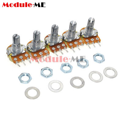 New 5PCS B20K OHM Linear Taper Rotary Potentiometer 15MM Shaft 3 Pin with Nuts M
