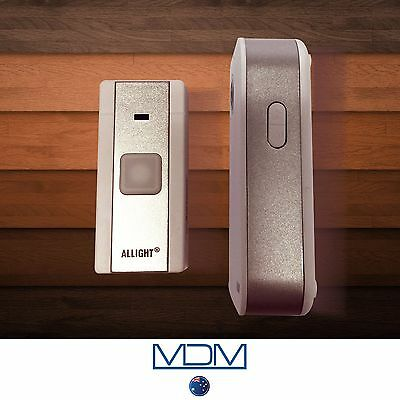 NEW ALLIGHT Battery Operated Waterproof Wireless Doorbell 100m  White & Silver